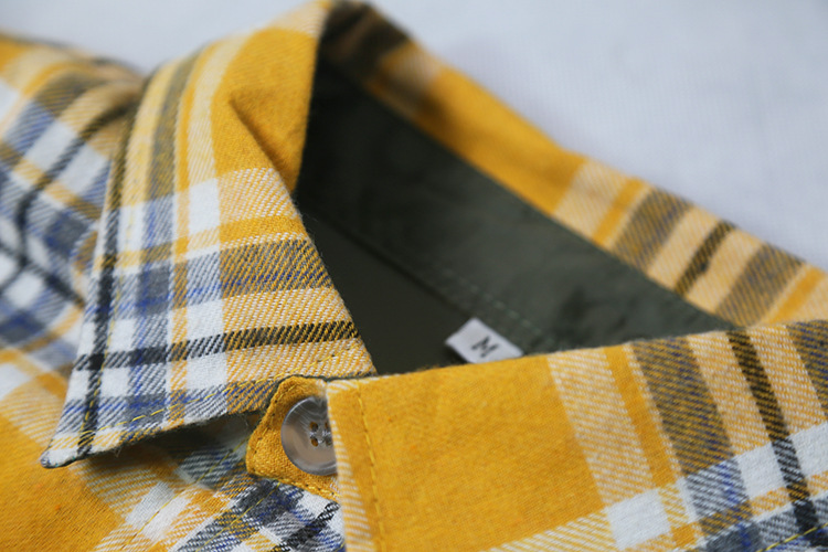 Autumn Long Sleeve Plaid Flannel Shirt Hip Hop Cropped Fit Patched Pockets Checkered Shirts Free Shipping