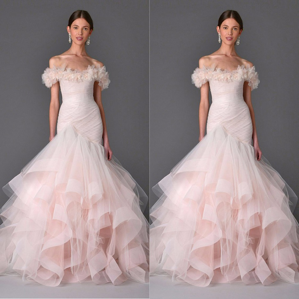 2017 Couture Blush Pink Wedding DRess Light Coral Wedding Gown