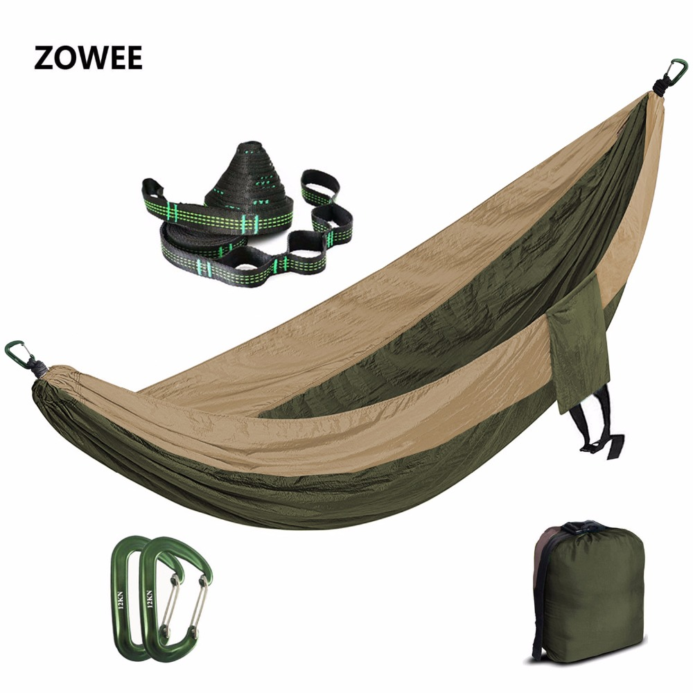 Portable Nylon Parachute Hammock Camping Garden Hamac Travel Double Person Hamak with Hammock strap and 7075Aluminum carabiners wholesale portable nylon parachute double hammock garden outdoor camping travel survival hammock sleeping bed for 2 person