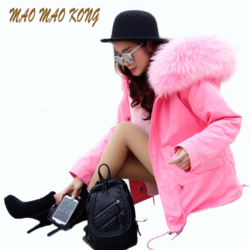 Top 2017 new fashion women's luxurious Large raccoon fur collar hooded coat parkas faux fur liner  winter jacket good quality 2017 new fashion women luxurious large raccoon fur collar coat warm rabbit fur liner parkas long winter jacket top quality