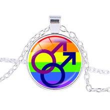 Homosexual Flag Locket Rainbow Silver-Plated Pendant
