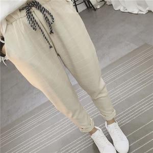 Image 4 - Calça feminina folgada, calça harém xadrez casual de linho algodão quadril primavera calças literárias sarouel femme 2020
