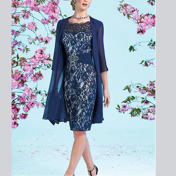 Elegent Sheath Blue Lace And Chiffon Knee-Length With Jacket Women's Dress 2019 Mother Of The Bride Dress Blue