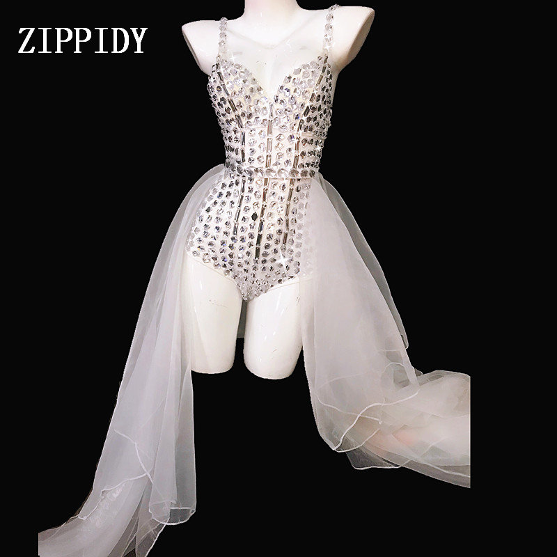 Fashion Performance White Crystals Outfit Female Singer  Mesh Train Costume Sexy Rhinestones Bodysuit Jazz Dance Wear