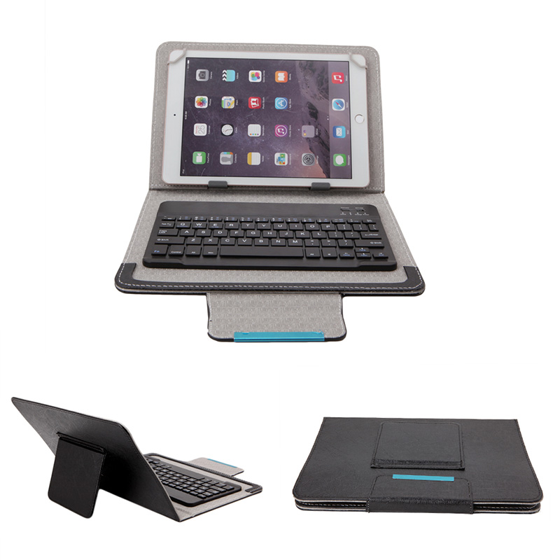Fashion 7-10inch Black PU Leather Detachable Wireless Bluetooth Keyboard With Tablet Case Cover Stand+Give Tablets Pen For ipad