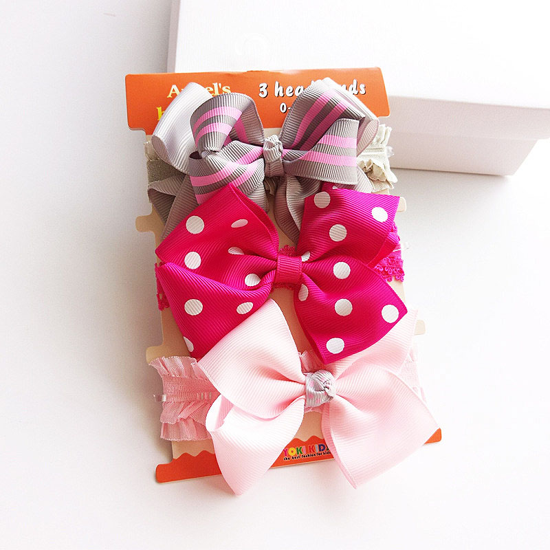 Купить с кэшбэком Fashion 3PCS New children's Hair Band Cotton Bow Hair Band Red Elastic Headband Hair Tool