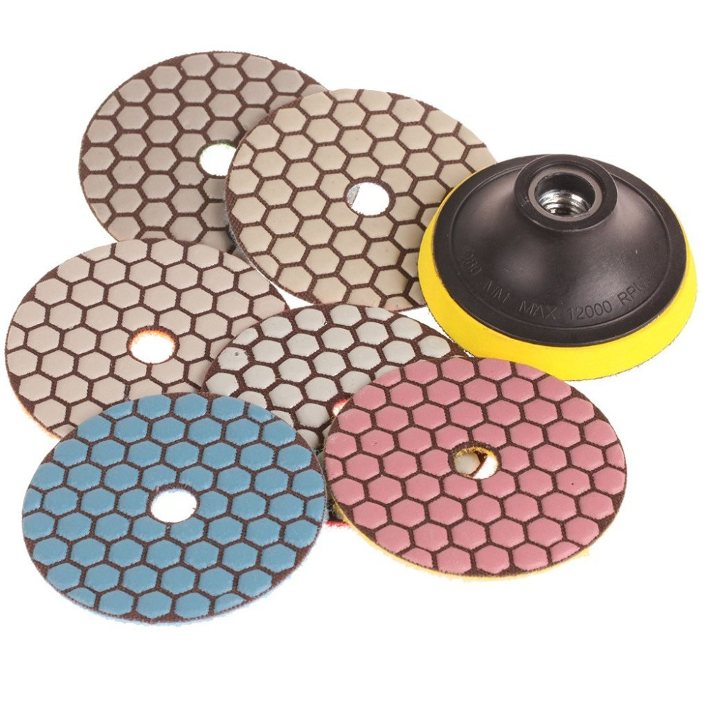 SPTA Mix Grit Premium Grade Dry 4(100mm) Diamond Polishing Pads Set -5/8-11Thread For Granite Marble Stone Polish Pack Of 7Pcs 1pc white or green polishing paste wax polishing compounds for high lustre finishing on steels hard metals durale quality