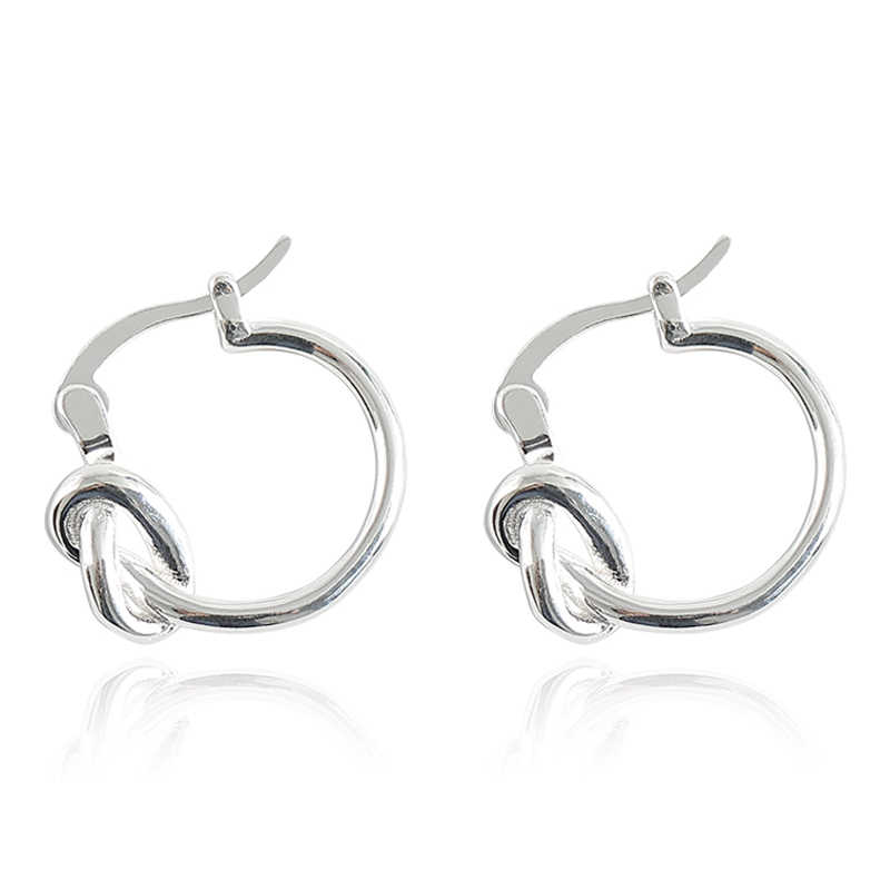 ec720d2231c80 925 Sterling Silver Circle Hoop Earrings New Design Knotted Fashion  Minimalist Korea Style Jewelry Huggie Earring Lover Gift