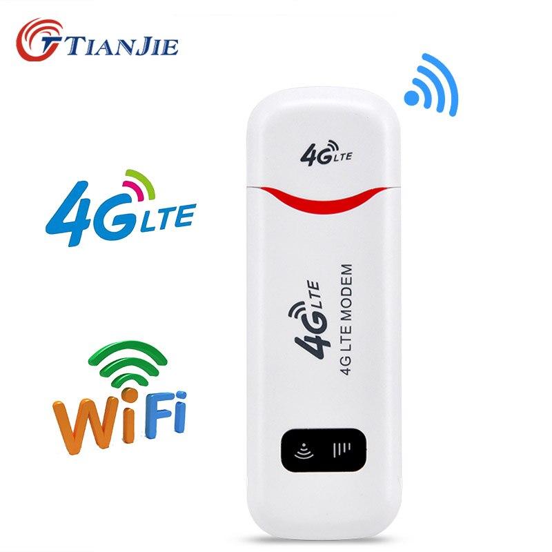 Tianjie 3g 4g wifi modem wingle lte usb hotspot sem fio dongle carro roteador wi-fi para windows mac os com slot para cartão sim