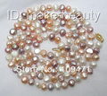 "stunning long 36"" 8mm white pink purple baroque freshwater pearl necklace"