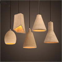 Vintage Small Grey Concrete Pendant Lights Cement Material Lamp For Loft Dining Room Kitchen Cafe Bar