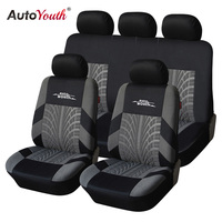 AUTOYOUTH Brand Embroidery Car Seat Cover Set Universal Fit Most Cars Covers With Tire Track Detail
