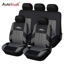 AUTOYOUTH Car-Seat-Covers-Set Tire-Track-Detail Styling Universal Brand Fit with Embroidery