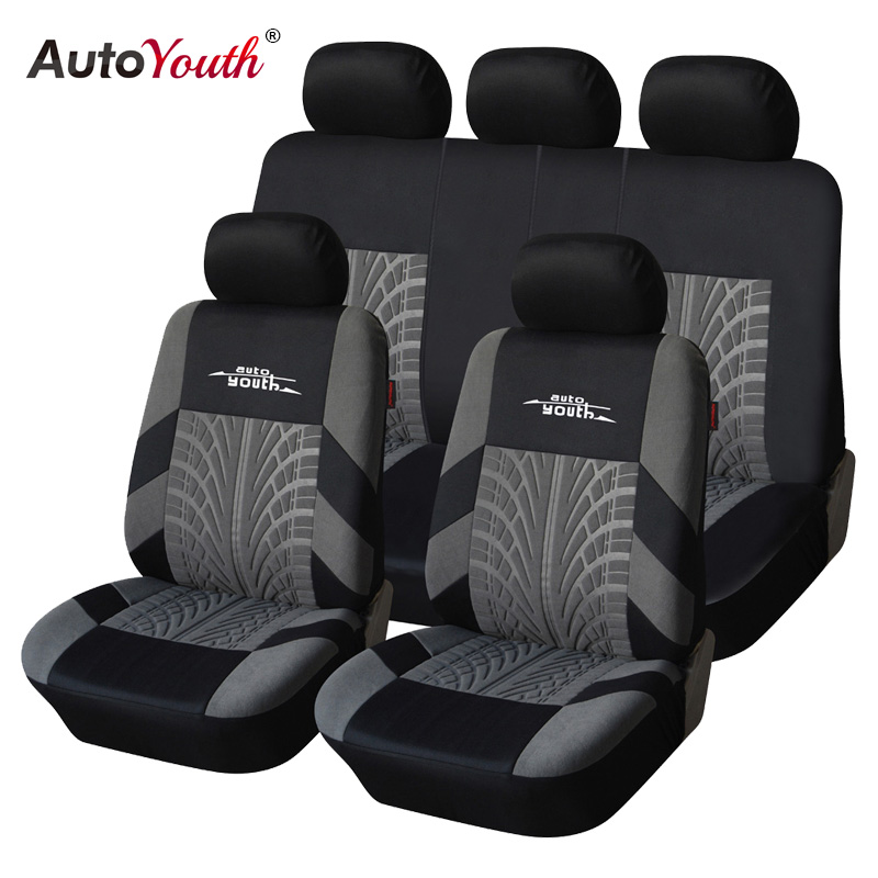 AUTOYOUTH Marke Stickerei Autositzbezüge Set Universal Fit Meisten Autos Covers mit Reifen Track Detail Styling Auto Seat Protector