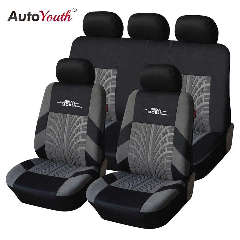 AUTOYOUTH marca bordado funda de asiento de coche conjunto Universal Fit la mayoría de las cubiertas de coches con detalles de pista de neumáticos estilo Protector de asiento de coche