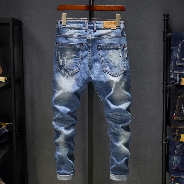 2018 ניו גברים של ג 'ינס Ripped חורי מכנסיים קוריאני סגנון אלסטיות מקרית מכנסיים מגניב למתוח גבר ג' ינס מכנסיים אביב