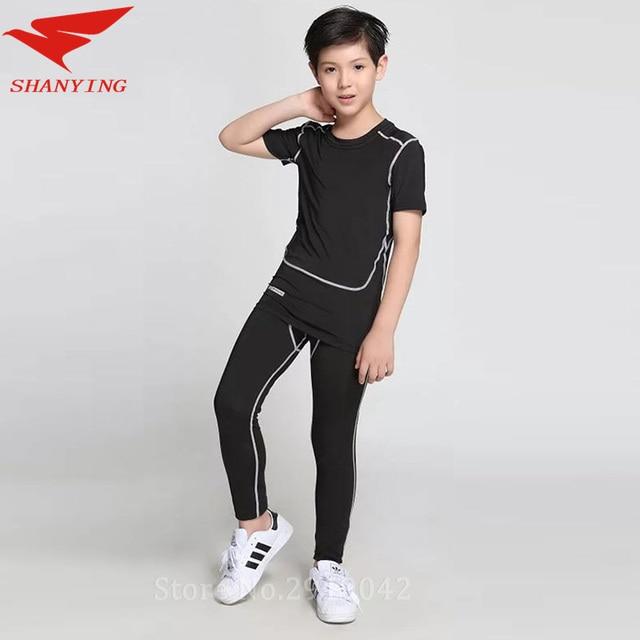 Niños Conjunto de Compresión Correr Pantalones Camisetas niños Niños Traje  de Gimnasio Ropa Deportiva de Fútbol a058cc903e09f