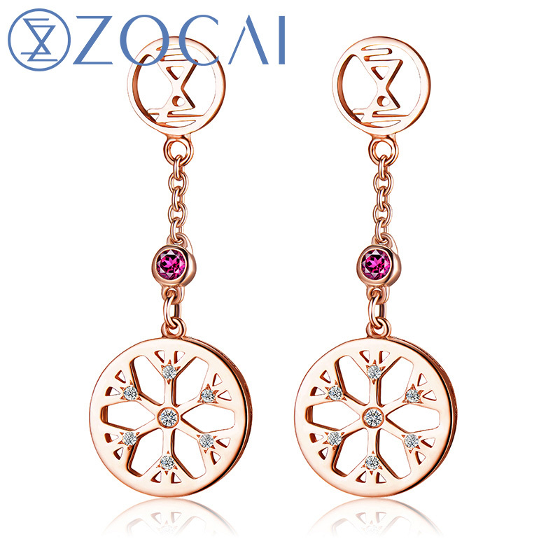 ZOCAI New Arrival ICE and FIRE Series 0.04 Ct Real Diamond with 0.06 Ct real Ruby 18K Rose gold Drop Earrings E80043T jinhui 18k 750 0 05 ct jh bs1380