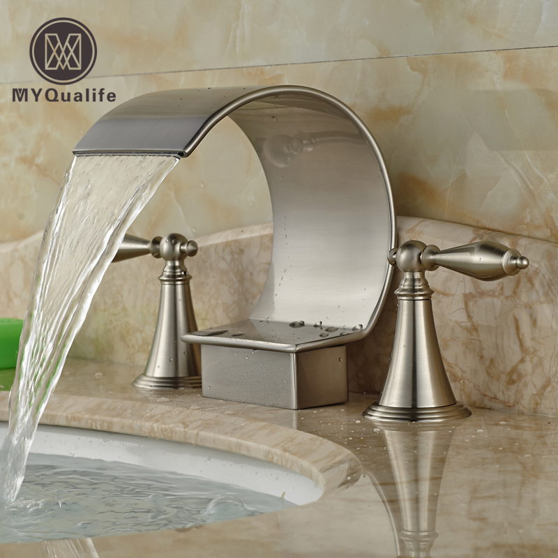 Luxury Deck Mount Dual Handles Bathroom Brushed Nickel Basin Faucet 3 Holes Widespread Mixer Taps brushed nickel dual crystal handles basin sink faucet deck mount 3 holes bathroom mixer taps