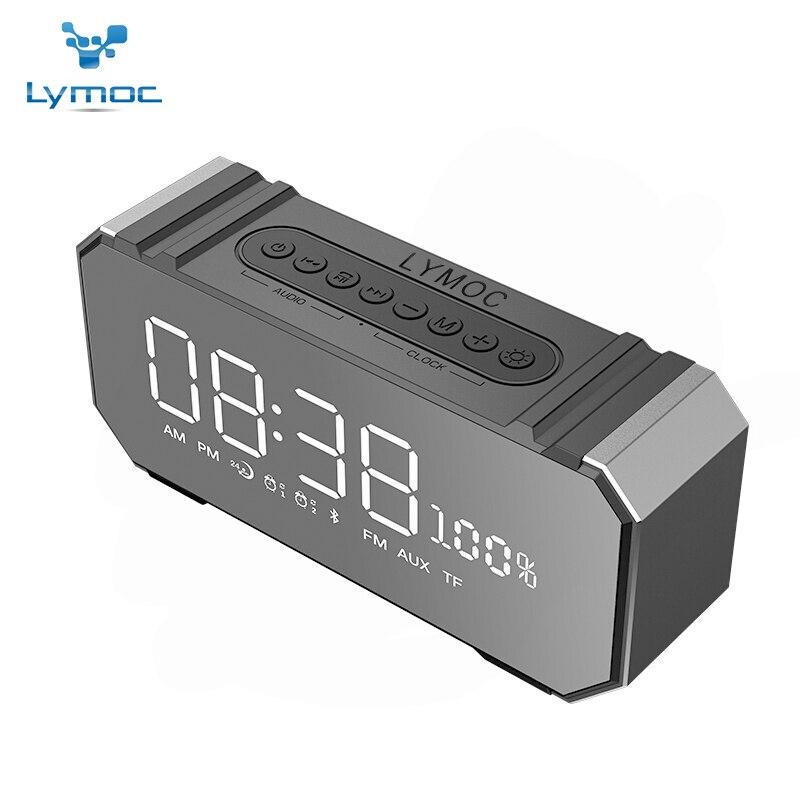 LYMOC Mirror Screen Bluetooth Speakers Wireless Metal Stereo Subwoofer Speaker V4 2 FM AUX TF USB2