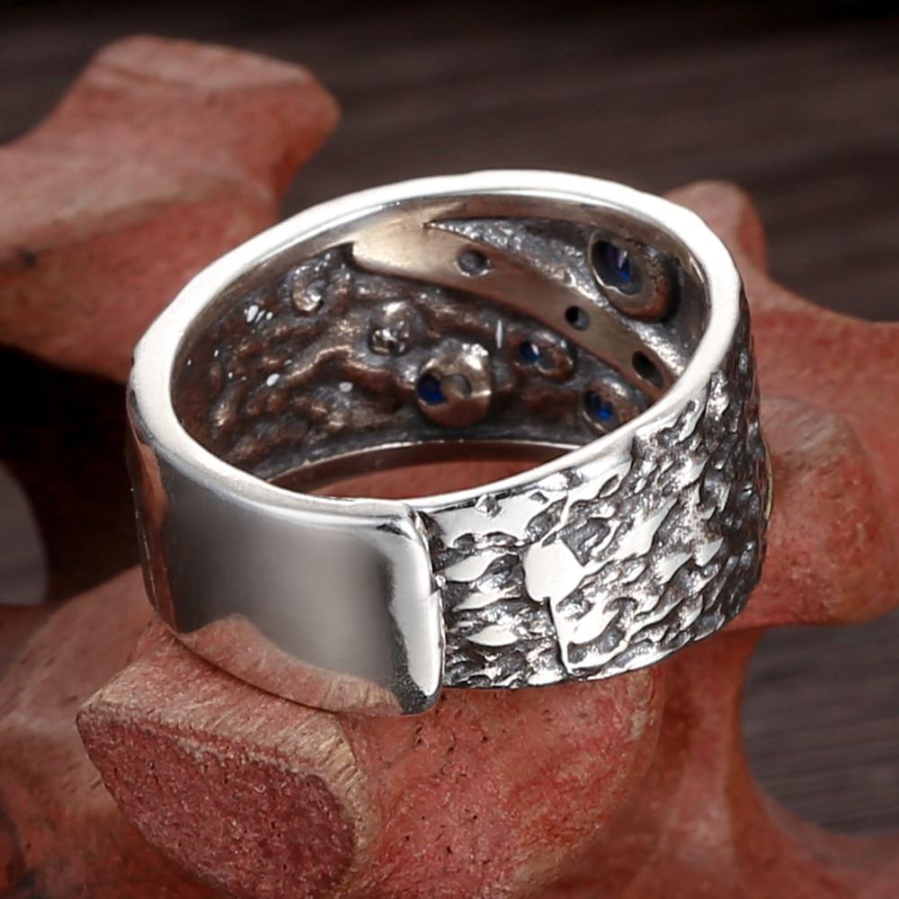 Image 4 - Мужское кольцо V.YA, из стерлингового серебра 925 пробы с синим циркониемКольца   -