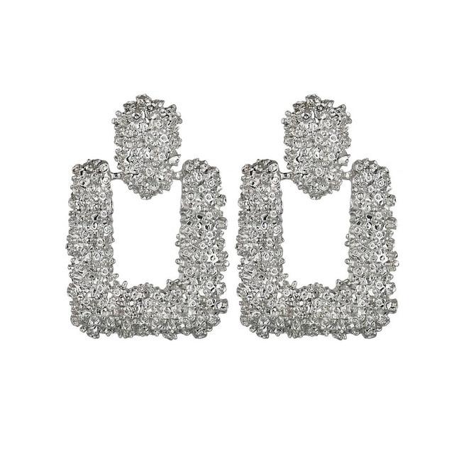 ee741783a 2019 Latest Embossed Flower Metal Stud Earrings Simple Silver/Gold Color  Woman Earring Personality Exotic Lady Wedding Earings