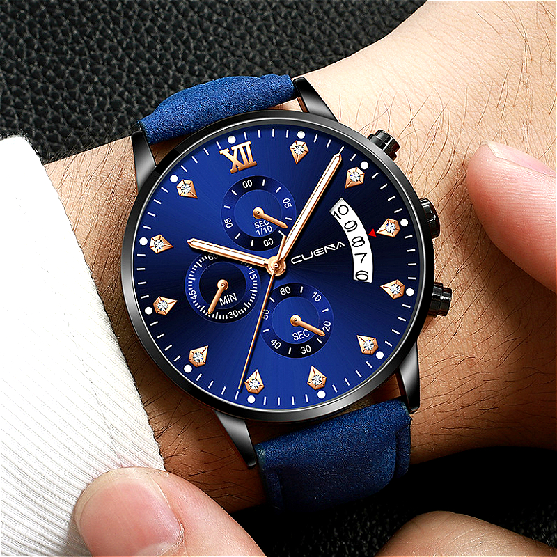 2019 Men Quartz Watch Military Sport Wristwatch Leather Strap Mens Reloj Complete Calendar Watches Homme Saati Relogio Masculino