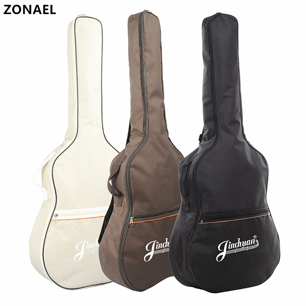 ZONAEL 41 Waterproof Double Shoulder Guitar Bag Folk Guitar Gig Backpack Bag Case 5mm Cotton Padded Black Guitar Accessories 40 41inch acoustic classical guitar bag case backpack adjustable shoulder strap portable 4mm thicken padded black