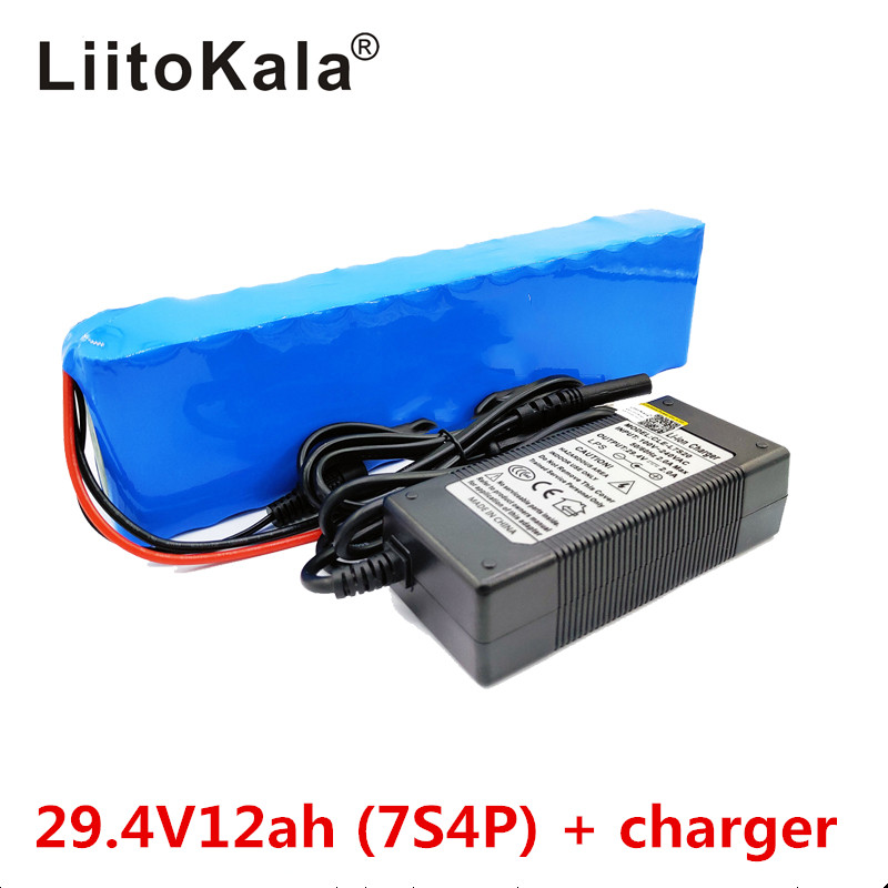LiitoKala 7S4P 24V 12ah lithium battery pack batteries for electric motor bicycle ebike scooter wheelchair cropper with BMS-in Battery Packs from Consumer Electronics