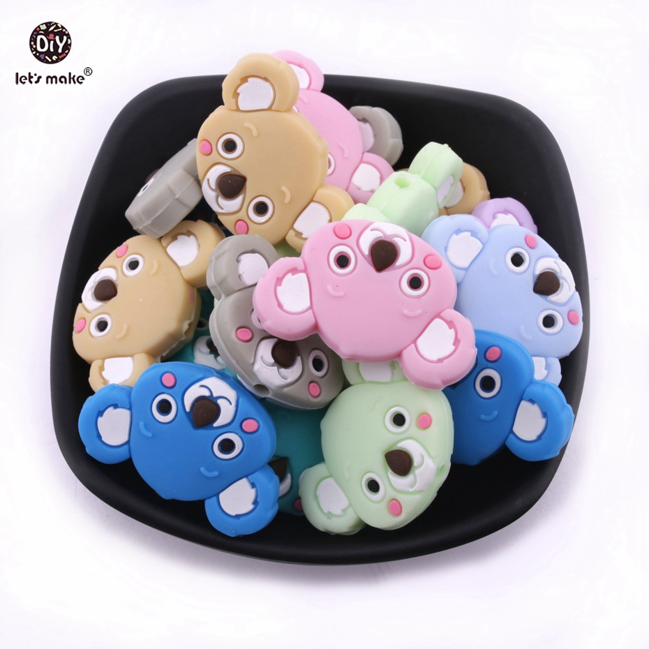 Let s Make 200pc Silicone Beads Mini Koala Food Grade Silicone Teething Cartoon Gifts Toys DIY