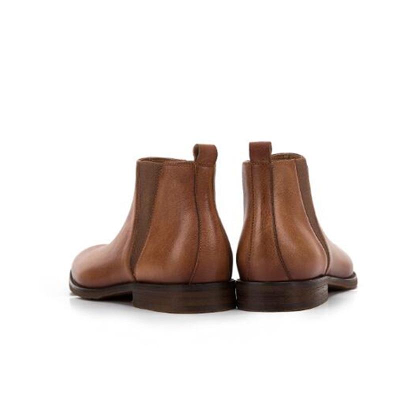 46 On Botines A Marrón Plus dark Slip Nueva Genuino Zapatos Invierno Hombre Cuero Marca Flats Martin De Oxford Hecho Coffee Mano Marrón Hombres Caminando Krusdan 38 AUIBw