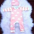 Roupas de bebê de Alta qualidade Unisex Novela Nuvens Bebê Rompers + chapéu de Algodão Recém-nascidos Meninos & Meninas Do Bebê Roupas de bebe roupas
