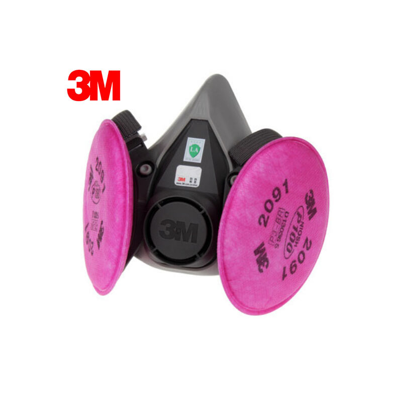 3M 6100+2091 Half Face Mask Efficient Dust Filter Cotton Dust Respirator Mask P100 Respiratory Protection LT008 11 in 1 suit 3m 6200 half face mask with 2091 industry paint spray work respirator mask anti dust respirator fliters