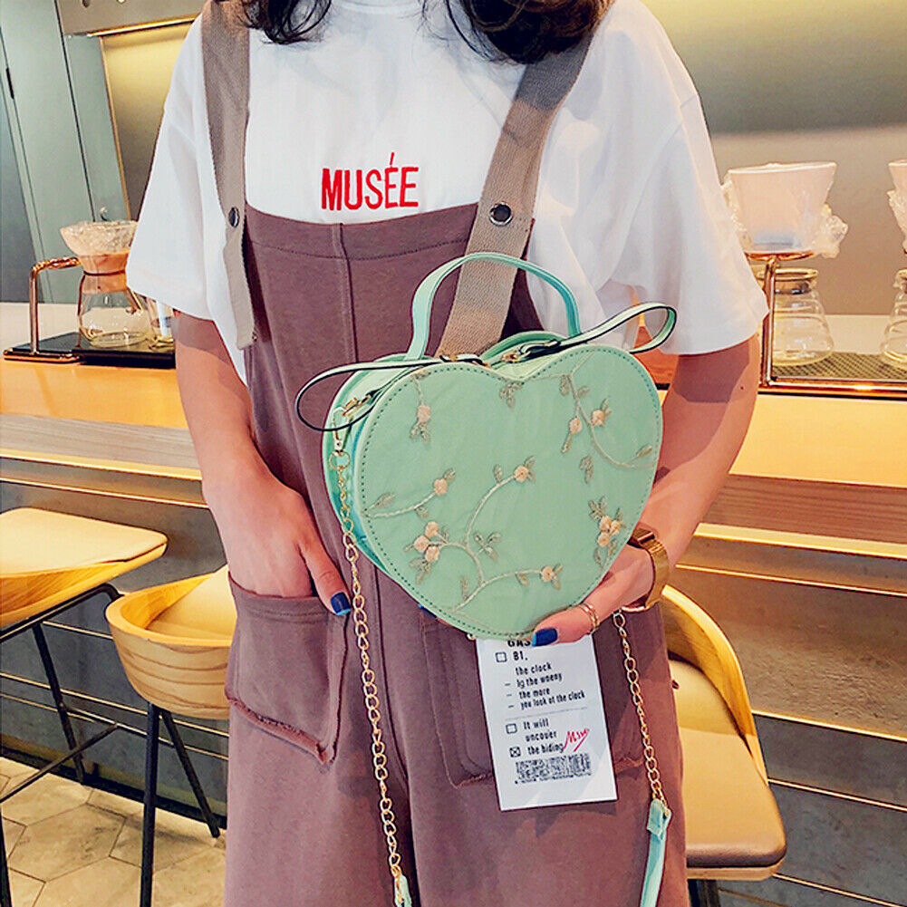 Women PU Leather Lace Heart Shape Crossbody Bag Tote Messenger Satchel Lady Travel Bags