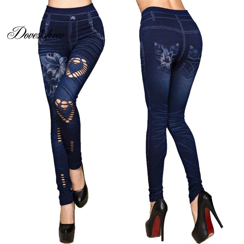 Moda Slim Leggings Mujer Faux Denim Jeans Leggings Sexy agujero corazón impresión Casual mujeres ropa lápiz pantalones más tamaño