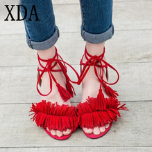 xda 2017 design gladiator high heel sandals lady sexy tassel sandals shoes women strappy open toe summer dress party shoes x395