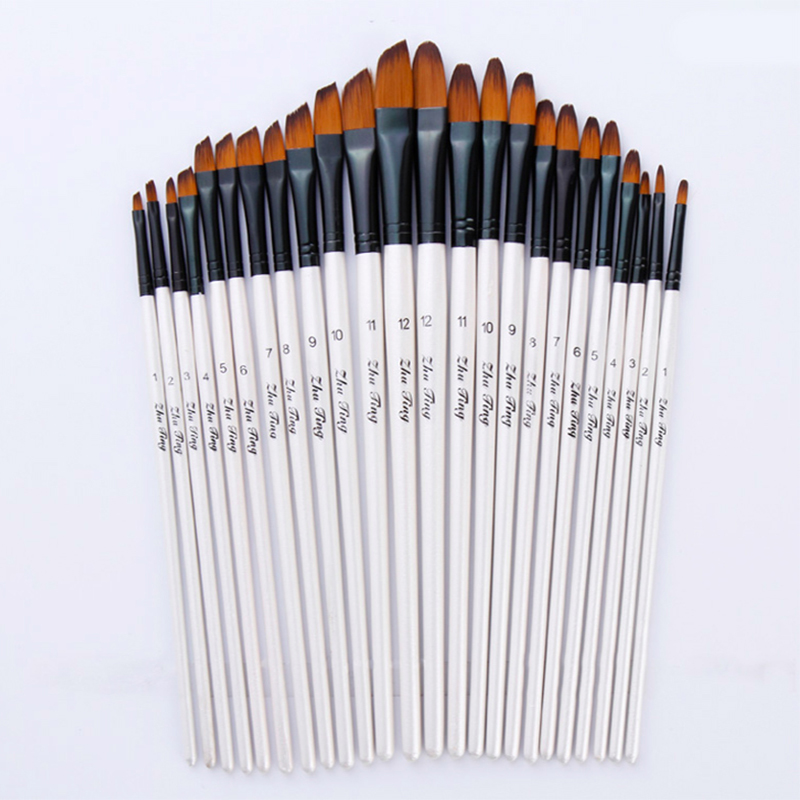 Nylon Hair Painting Brush Set Artist White Wooden Handle Brush Acrylic Watercolor Gouache Drawing Brush Art Supplies