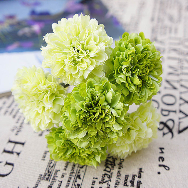 6pcs Silk Flower Wedding Bride Bouquet Vases For Decoration Fake