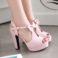 Fashion Square Heel Women Pumps Sweet Bowtie High Heel Platform Lolita Shoes Ankle Strap Cosplay Party Wedding Shoes