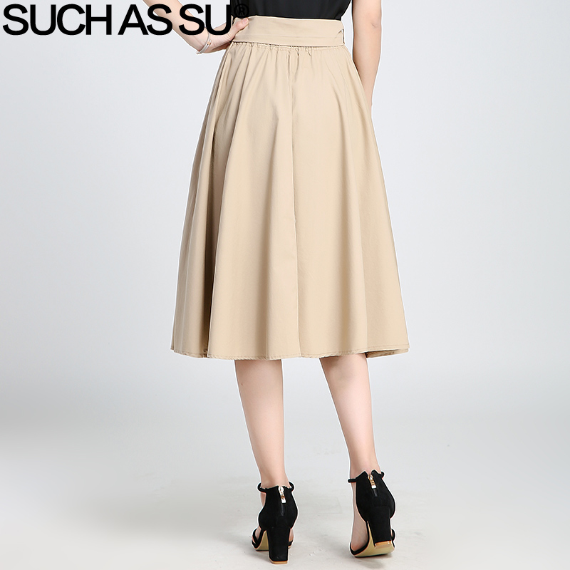 f94313ee7a SUCH AS SU 2017 Summer Autumn Knit A Line Skirts For Women Black Khaki Brown  Pleated Skirt Elastic Waist Female Mid Long Skirt-in Skirts from Women's ...