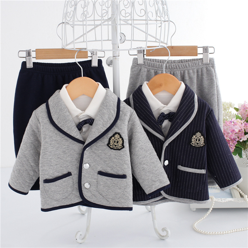 Newborn Baby Clothes Set 3 Pcs Gentleman Baby Boy Bow Tie Long Sleeve Shirt+Coat+Pants Fashion Brand Baby Boy Clothes Set 0-9M 2018 spring newborn baby boy clothes gentleman baby boy long sleeved plaid shirt vest pants boy outfits shirt pants set