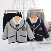 Newborn Baby Clothes Set 3 Pcs Gentleman Baby Boy Bow Tie Long Sleeve Shirt Coat Pants