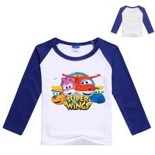 Z&Y 3-9Years Super Wings Clothes Boys Long Sleeve T Shirt with Spandex Girls Tshirt Kids Cartoon T-shirts Fashion Nova Top N7185