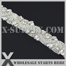 Iron On Crystal Applique Bridal Trim,Rhinestone Belt Trim,Gleaming Applique Bridal Rhinestone Trim,Crystal Chain
