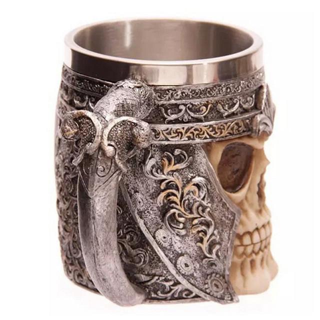 1Piece Striking Skull Warrior Tankard Viking Skull Beer Mug Gothic Helmet Drinkware Vessel