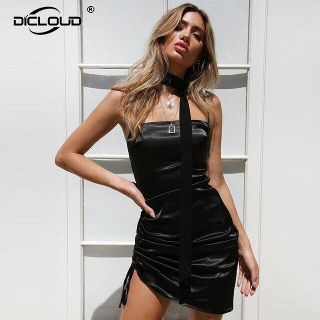 Elegant Backless Satin Dress Women 2018 Summer Dress Evening Party Sexy  Mini Dresses Vestidos Femme Hot 966d7ca72042