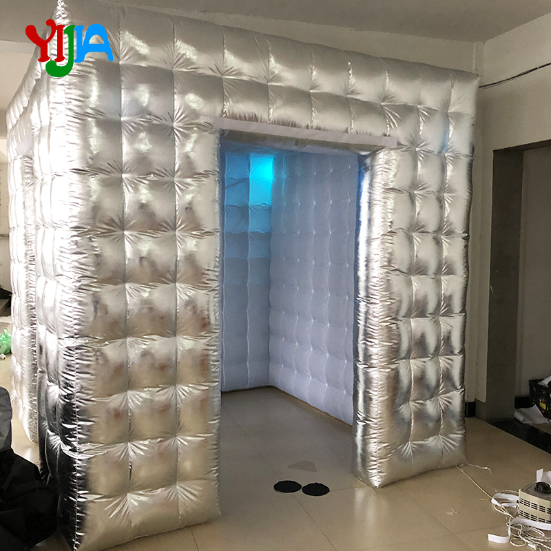 Silver or Gold <font><b>Cube</b></font> inflatable Photo booth with <font><b>LED</b></font> lights 16 color changing Photo booth backdrops stand For party image