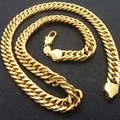 "Solid Chunky Chain  Yellow Gold Filled Mens Necklace Double Curb Chain Link 24"" Long"
