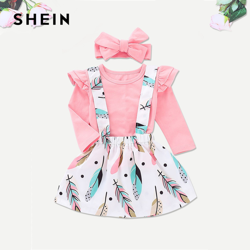SHEIN Kiddie Frill Tee And Feather Print Pinafore And Headband Toddler Girls Two Piece Set 2019 Spring Long Sleeve Kids Clothes hollow out two piece dress