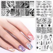 NICOLE DIARY Rectangle Nail Stamping Plates Flowers Lotus leaf Image Stainless Steel Nail Art Templates Stencil DIY Design